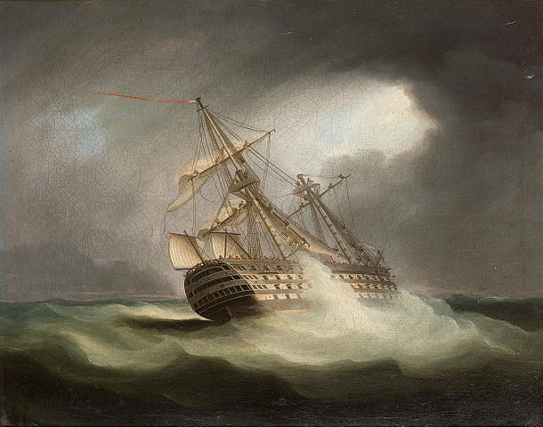 610px-Thomas_Buttersworth_-_H.M.S._'Victory'_in_full_sail_and_in_a_squall_(2)